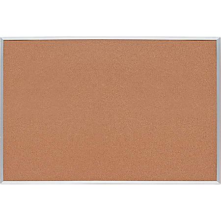 "Lorell® Basic Cork Board, 48"" x 36"", Aluminum Frame With Brown Finish"