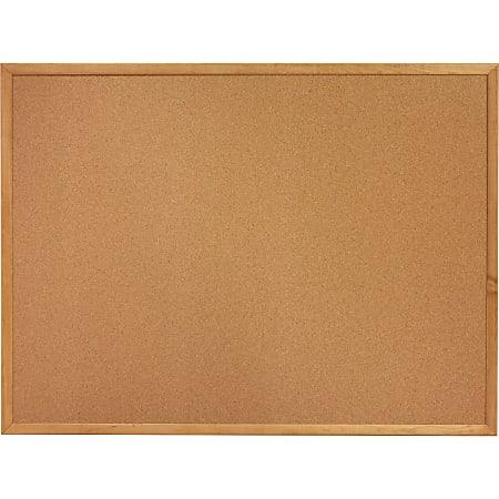 "Lorell® Cork Bulletin Board, 36"" x 48"", Wood Frame With Oak Finish"