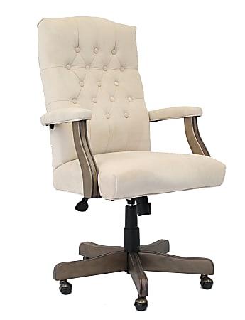 Boss Button-Tufted Ergonomic High-Back Chair, Champagne Velvet
