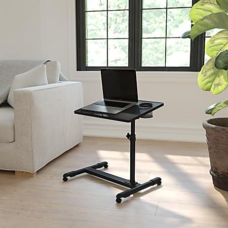 Flash Furniture Height Adjustable Contemporary Metal Mobile Computer Desk, Black