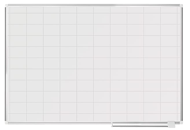 """MasterVision® Magnetic Gold Ultra™ Dry-Erase Planning Whiteboard With 2"""" x 3"""" Grid, 48"""" x 72"""", Aluminum Frame With Silver Finish"""