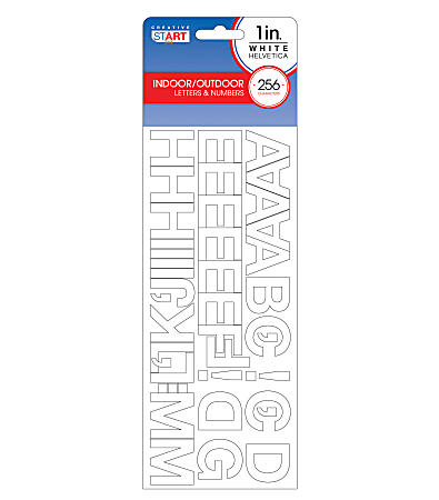"""Creative Start® Self-Adhesive Letters, Numbers and Symbols, 1"""", Helvetica, White, Pack of 256"""