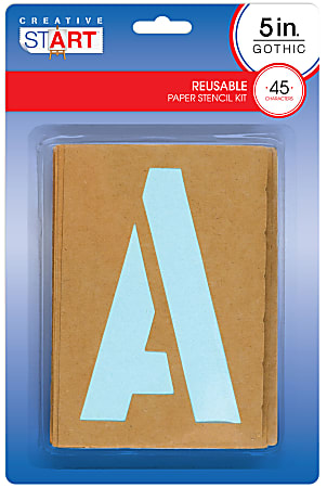 """Creative Start® Stencil Kit, Reusable Paper, Letters, Numbers and Symbols, Gothic, 5"""", 45 Characters"""