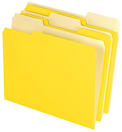 Office Depot® Brand 2-Tone File Folders, 1/3 Cut, Letter Size, Yellow, Box Of 100