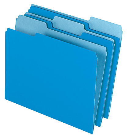 Office Depot® Brand 2-Tone File Folders, 1/3 Cut, Letter Size, Blue, Box Of 100