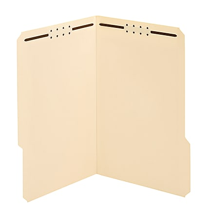 Office Depot® Brand Reinforced Manila Folder With 2 Embossed Fasteners, 1/3-Cut Tabs, Legal Size, Box Of 50