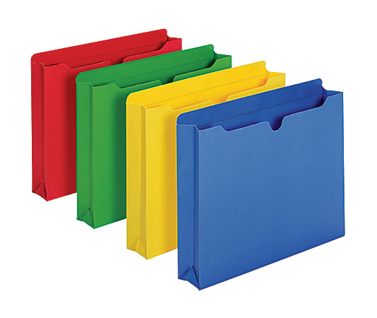 """Office Depot® Brand Color File Jackets, 2"""" Expansion, 8 1/2"""" x 11"""", Letter Size, Assorted Colors, Pack Of 10 Jackets"""