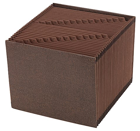 """Office Depot® Brand Expanding File, 1-31, 31 Pockets, Letter Size (8-1/2"""" x 11""""), 1-3/4"""" Expansion, Brown"""
