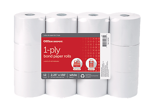 """Office Depot® Brand 1-Ply Bond Paper Roll, 2-1/4"""" x 150', 30% Recycled, White, Pack of 12"""