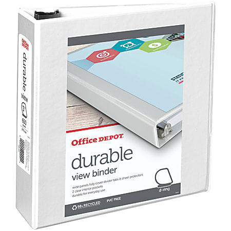 """Office Depot® Brand Durable View 3-Ring Binder, 3"""" Slant Rings, 49% Recycled, White"""