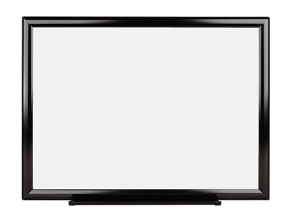 "Office Depot® Brand Melamine Non-Magnetic Dry-Erase Whiteboard, 18"" x 24"", Aluminum Frame With Black Finish"