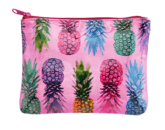 """Divoga® Tropical Punch Collection Pineapple Pencil Pouch, 6""""H x 8""""W x 13/16""""D, Pink"""