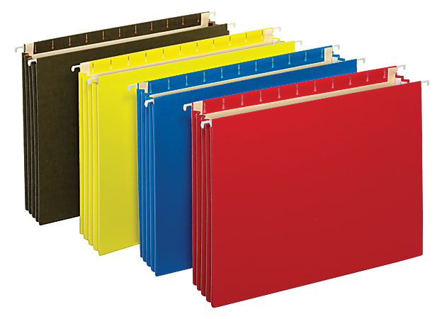 """Office Depot® Brand Hanging Pockets With Full-Height Gussets, Letter Size (8-1/2"""" x 11""""), 3 1/2"""" Expansion, Assorted Colors, Pack Of 4"""