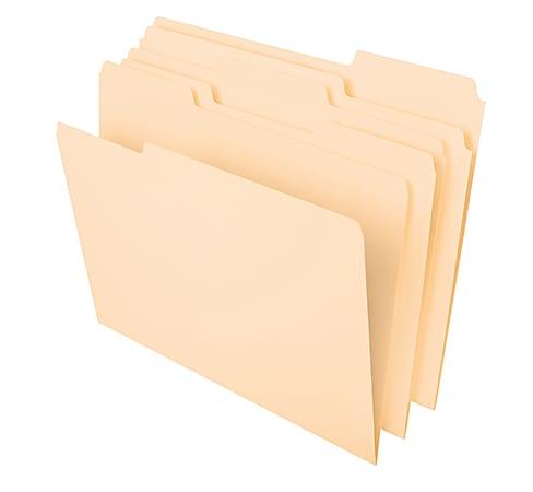 "Office Depot® Brand Heavyweight Manila File Folders, 1/3 Cut, Letter Size (8-1/2"" x 11""), Manila, Box Of 50 Folders"