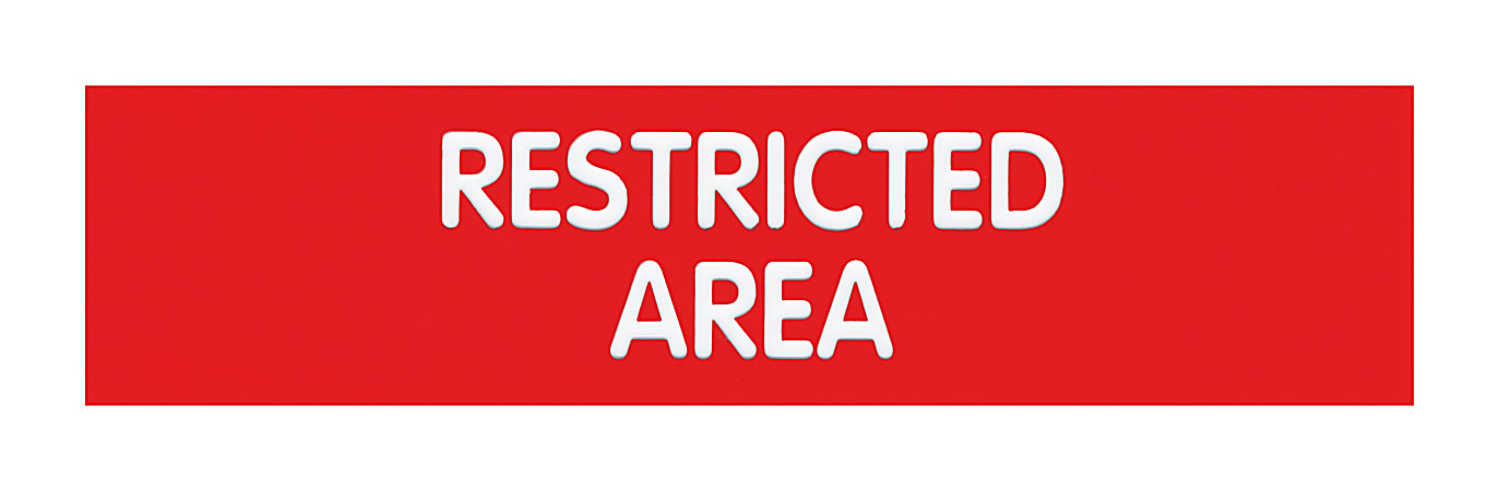 """Cosco® Engraved """"Restricted Area"""" Sign, 2"""" x 8"""", Red/White"""