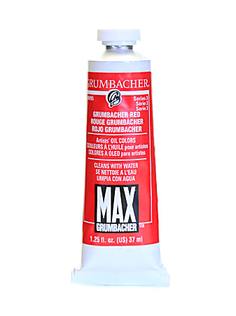 Grumbacher Max Water Miscible Oil Colors, 1.25 Oz, Grumbacher Red (Naphthol Red), Pack Of 2