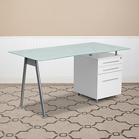 Flash Furniture Contemporary Glass Computer Desk with 3-Drawer Pedestal, Frost/White