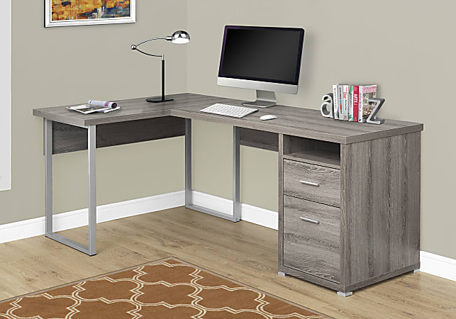 Monarch Specialties L-Shaped Computer Desk With 2 Drawers, Dark Taupe