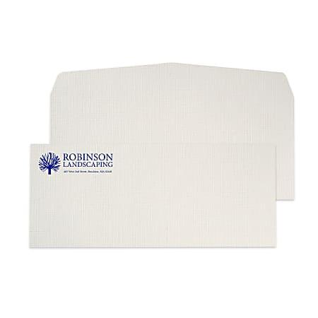 "Custom #10, 1-Color Raised Print Envelopes, 4-1/8"" x 9-1/2"", Gray Linen, Box Of 250"