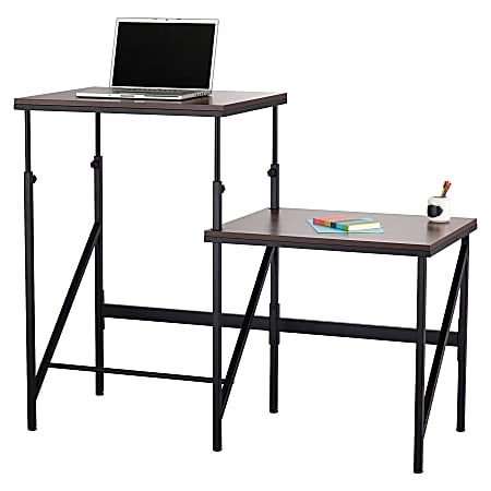 """Safco Bi-Level Stand/Sit Desk - Melamine Laminate Rectangle, Walnut Top - Powder Coated Base - 57.50"""" Table Top Width x 24"""" Table Top Depth x 0.75"""" Table Top Thickness - 50"""" Height - Assembly Required - Black"""