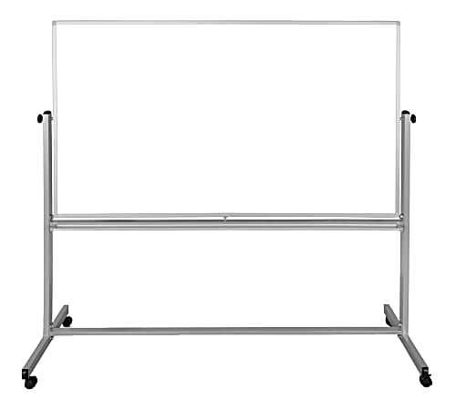 """Luxor Double-Sided Magnetic Mobile Dry-Erase Whiteboard, 40"""" x 72"""", Aluminum Frame With Silver Finish"""