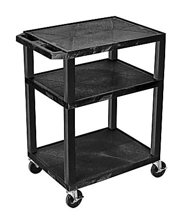 "H. Wilson Luxor Tuffy 3-Shelf Cart, 24""W x 18""D, Black"
