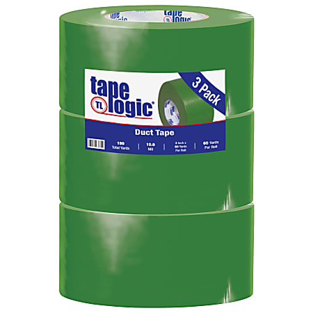 """Tape Logic® Color Duct Tape, 3"""" Core, 3"""" x 180', Green, Case Of 3"""
