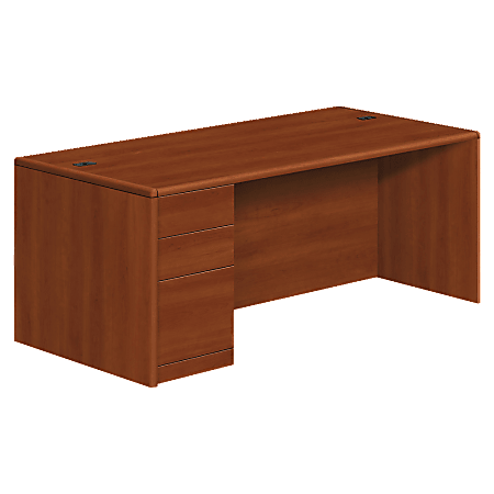 HON® 10700 Series Laminate Left Pedestal Desk, Box/Box/File, Cognac