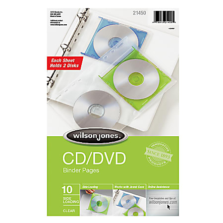 Wilson Jones® CD/DVD Sheet Protector Pages, Super-Heavyweight, Side Opening, Clear, Pack Of 10