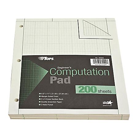 "TOPS? Engineer's Computation Pad, 8 1/2"" x 11"", 200 Sheets, Green"