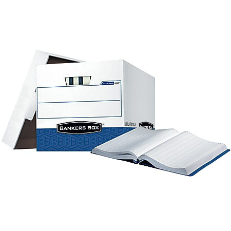 """Bankers Box® Printout Data Pak Storage Boxes With Lift-Off Lids, Letter/Legal Size, 13"""" x 13 3/4"""" x 17 3/4"""", 65% Recycled, White/Blue, Case Of 12"""