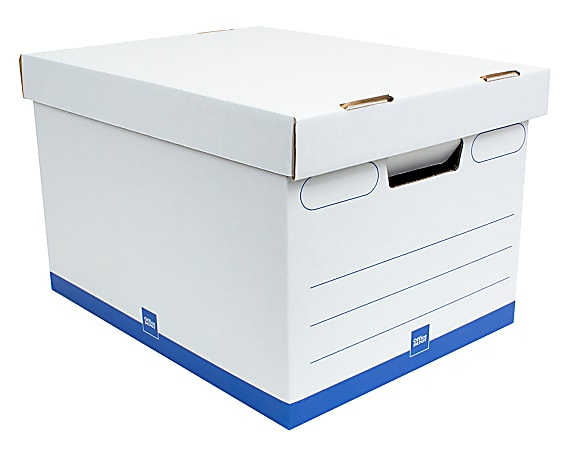"""Office Depot® Brand Quick Set Up Medium-Duty Storage Boxes With Lift-Off Lids And Built-In Handles, Letter/Legal Size, 15"""" x 12"""" x 10"""", 60% Recycled, White/Blue, Case Of 12"""