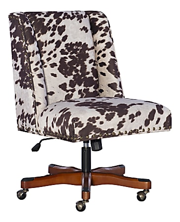 Linon Home Decor Products Cooper Mid-Back Home Office Chair, Brown Cow/Walnut
