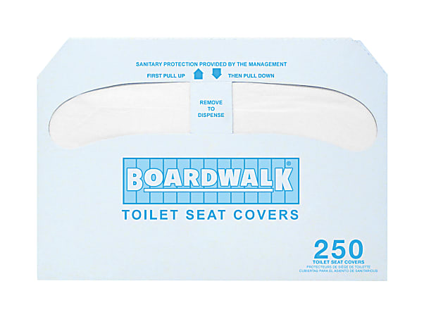 Krystal Boardwalk Premium Half-Fold Toilet Seat Covers, 250 Covers Per Pack, Case Of 20 Packs