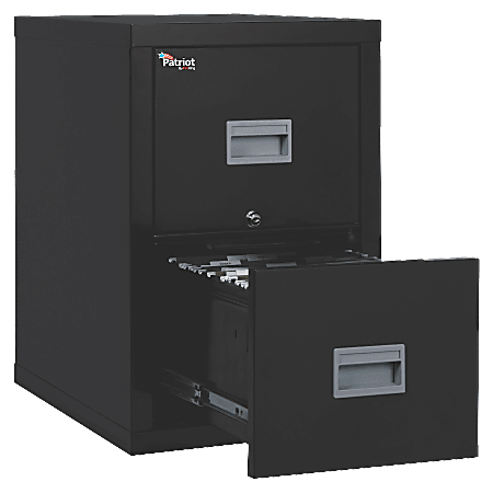 "FireKing® Patriot 25""D Vertical 2-Drawer File Cabinet, Metal, Black, White Glove Delivery"