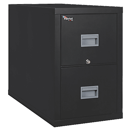 "FireKing® Patriot 31-5/8""D Vertical 2-Drawer File Cabinet, Metal, Black, White Glove Delivery"