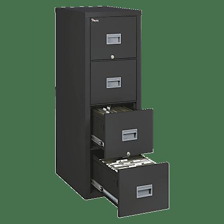 "FireKing® Patriot 17-3/4""D Vertical 4-Drawer File Cabinet, Metal, Black, White Glove Delivery"