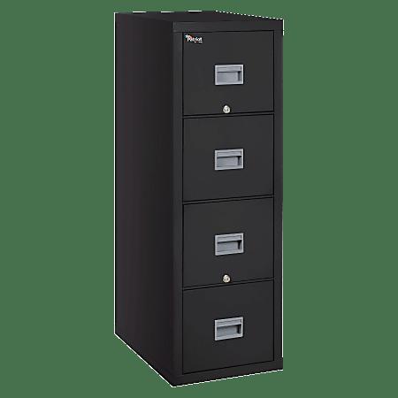 "FireKing® Patriot 20-3/4""D Vertical 4-Drawer File Cabinet, Metal, Black, White Glove Delivery"