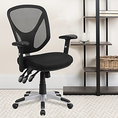 Flash Furniture Mesh Mid-Back Swivel Task Chair With Adjustable Arms, Black/Silver