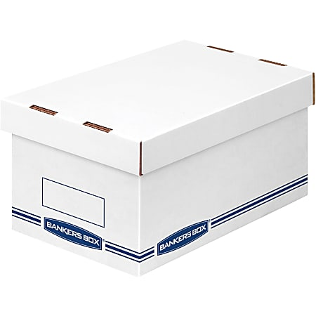 """Bankers Box Organizers Storage Boxes - External Dimensions: 8.3"""" Width x 12.9"""" Depth x 6.5"""" Height - Medium Duty - Single/Double Wall - Stackable - White, Blue - For Storage - Recycled - 12 / Carton"""