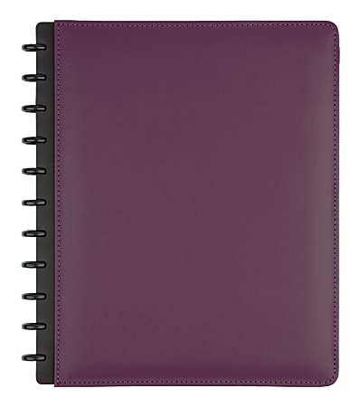 TUL® Discbound Notebook, Letter Size, Leather Cover, Narrow Ruled, 60 Sheets, Purple
