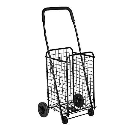 "Honey-can-do CRT-01511 Medium Multi-Purpose Wheeled Utility Cart, Black - 50 lb Capacity - 4 Casters - 14"" Length x 18.6"" Width x 37.5"" Height - Black Metal Frame"