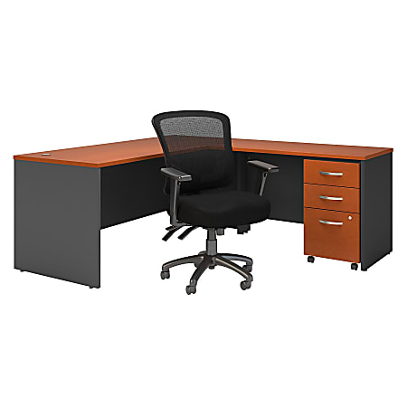 "Bush Business Furniture Components 72""W L-Shaped Desk With Mobile File Cabinet And Mid-Back Multifunction Office Chair, Auburn Maple/Graphite Gray, Standard Delivery"