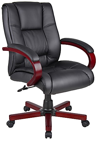 Boss Office Products Ergonomic Vinyl Ergonomic Mid-Back Chair, Black/Mahogany