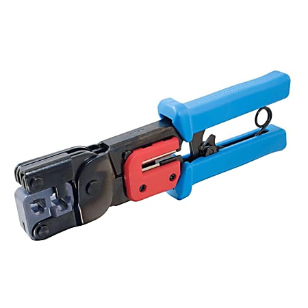 C2G RJ11/RJ45 Crimping Tool with Cable Stripper - Black, Blue - Steel - 2 lb