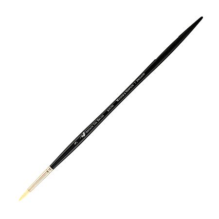 Winsor & Newton Artists' Oil Paint Brush, Size 3, Round Bristle, Hog Hair, Black