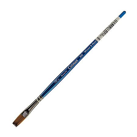 "Winsor & Newton Cotman Watercolor Paint Brush 666, 1/2"", One-Stroke Flat Bristle, Synthetic, Blue"
