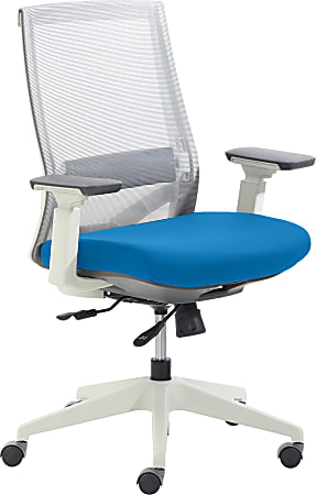 True Commercial Pescara Mesh/Fabric Mid-Back Executive Chair, Blue/Off-White