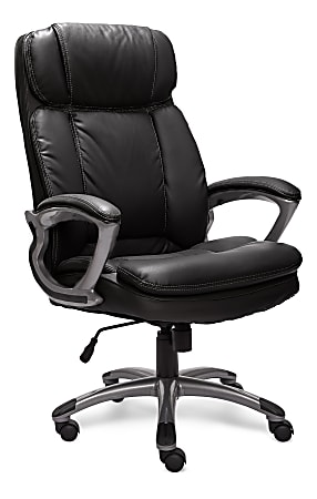 Serta® Big And Tall Puresoft® Bonded Leather High-Back Chair, Black/Silver