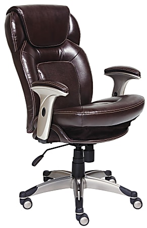Serta® Back in Motion™ Health & Wellness Ergonomic Bonded Leather Mid-Back Office Chair, Frye Chocolate